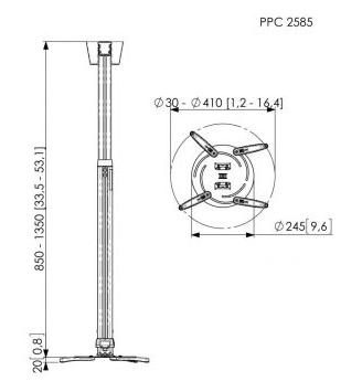 vogels ppc 2585 height adjustable projector mount  850